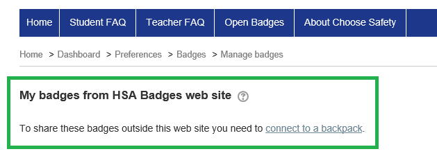 Connect to Backpack link on the Badges page