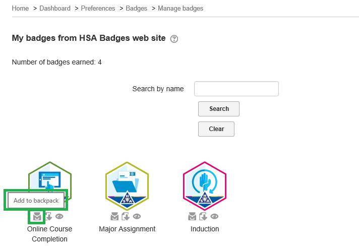 Highlighted link to push badge to Badgr backpack