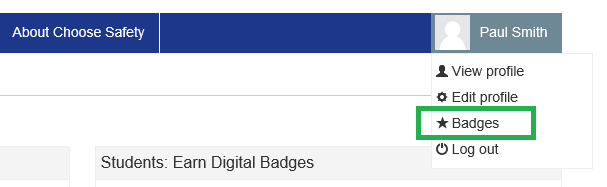 User navigation to the Badges page
